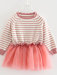 cheap -Baby Girls' Basic Striped Long Sleeve Dress Blushing Pink