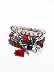 abordables -Bracelet à Perles Homme Femme Perles Foi Coréen Bracelet Bijoux Noir Bleu Arc-en-ciel pour Quotidien Plein Air