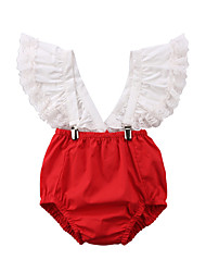 cheap -Baby Girls' Active Patchwork / Solid Colored Lace / Lace up / Lace Trims Sleeveless Bodysuit Red