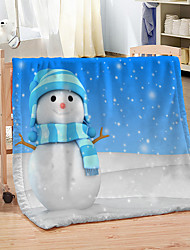 cheap -3D Printed Christmas Snowman Thickened Warm Coral Blanket for Office /Bedroom