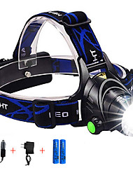 cheap -Headlamps Headlight Waterproof Zoomable 2000 lm LED Emitters 4 Mode with Batteries and Chargers UK AU EU USA Plug Rechargeable Adjustable Focus Anglehead Super Light Camping / Hiking Hunting Fishing