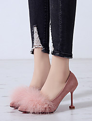cheap -Women's Heels Kitten Heel Pointed Toe Feather Suede Business / Vintage Spring &  Fall / Spring & Summer Black / Almond / Pink / Party & Evening