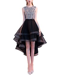 cheap -A-Line Hot Black Cocktail Party Prom Dress Jewel Neck Sleeveless Asymmetrical Tulle with Crystals Sequin Tier 2020