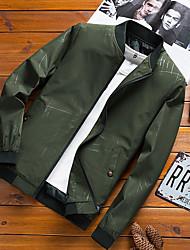 abordables -Homme Sports Printemps Normal Veste, Couleur Pleine Mao Manches Longues Polyester Noir / Gris Foncé / Vert Véronèse