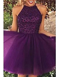 cheap -A-Line Halter Neck Short / Mini Tulle Elegant Cocktail Party / Formal Evening Dress with Appliques 2020