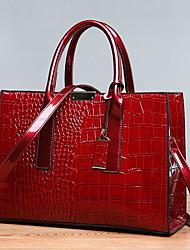 cheap -Women's PU Top Handle Bag Crocodile Black / Dark Brown / Red