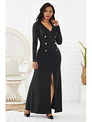 cheap -Mermaid / Trumpet Minimalist Sexy Party Wear Formal Evening Dress V Neck Long Sleeve Ankle Length Spandex with Buttons Split 2020