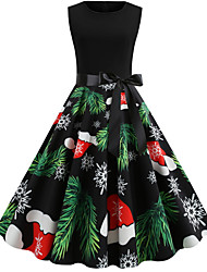cheap -Women's Swing Dress - Sleeveless Floral Print Elegant Christmas Party Black S M L XL XXL
