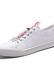 cheap -Men's Comfort Shoes PU Fall Casual Sneakers Non-slipping Black / White