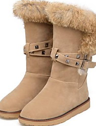 cheap -Women's Boots Snow Boots Flat Heel Round Toe Suede Mid-Calf Boots Winter Black / Almond / Gray