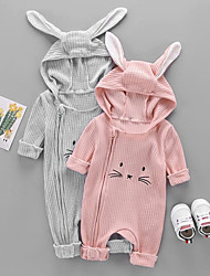 cheap -2pcs Baby Girls' Active / Basic Solid Colored Cut Out / Embroidered Long Sleeve Overall & Jumpsuit Blushing Pink