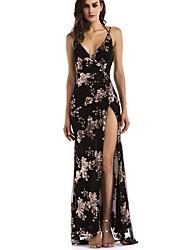 cheap -Women's Maxi Gold Black Dress Sheath Floral Strap S M