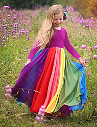 cheap -Kids Toddler Little Girls' Dress Rainbow Color Block Colorful Causal Patchwork Fuchsia Lavender Maxi Long Sleeve Active Boho Dresses Easter Regular Fit