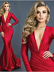 cheap -Mermaid / Trumpet V Neck Sweep / Brush Train Stretch Satin Sexy / Red Engagement / Formal Evening Dress with Draping 2020