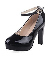 cheap -Women's Heels Chunky Heel Round Toe Patent Leather Fall & Winter Black / White / Gold
