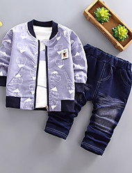 cheap -Baby Boys' Basic Geometric Long Sleeve Regular Regular Clothing Set Blue