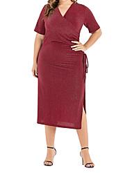 cheap -Women's Bodycon Dress - Solid Colored Black Red Green XL XXL XXXL XXXXL