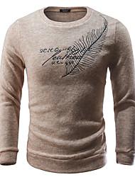 cheap -Men's Geometric Long Sleeve Pullover Sweater Jumper, Round Neck Black / Dark Gray / Beige M / L / XL