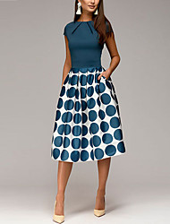 cheap -Women's 2020 Going out 1950s Elegant A Line Sheath Swing Dress - Polka Dot Geometric Print Ruched Patchwork Print Spring & Summer Black Blue Red S M L XL