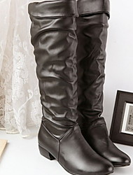 cheap -Women's Boots Flat Heel Round Toe PU Mid-Calf Boots Fall & Winter Black / Brown / White