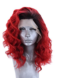 cheap -Synthetic Lace Front Wig Wavy Side Part Lace Front Wig Ombre Short Black / Red Synthetic Hair 12-16 inch Women's Adjustable Heat Resistant Party Red Ombre