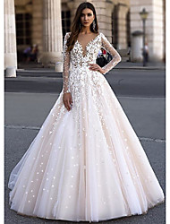 cheap -A-Line V Neck Floor Length Lace / Tulle Long Sleeve Made-To-Measure Wedding Dresses with Appliques 2020