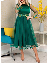cheap -A-Line Floral Green Wedding Guest Cocktail Party Dress Jewel Neck Long Sleeve Tea Length Polyester with Appliques 2020
