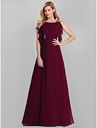 cheap -A-Line Empire Red Wedding Guest Formal Evening Dress Boat Neck Sleeveless Floor Length Lace with Crystals Ruffles Draping 2020