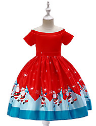 cheap -Ball Gown / Princess Knee Length Flower Girl Dress - Poly&Cotton Blend Short Sleeve Jewel Neck with Bow(s) / Pattern / Print / Sash / Ribbon