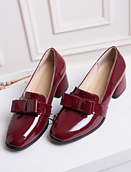 cheap -Women's Heels Chunky Heel Square Toe Bowknot PU British / Preppy Spring &  Fall Black / Burgundy