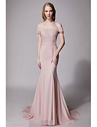 cheap -Mermaid / Trumpet Sweetheart Neckline Court Train Chiffon / Lace Bridesmaid Dress with Lace / Sash / Ribbon