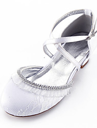 cheap -Girls' Mary Jane Lace / Satin Heels Little Kids(4-7ys) / Big Kids(7years +) Rhinestone / Stitching Lace White / Champagne / Ivory Spring / Party & Evening