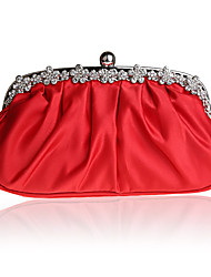 cheap -Women's Crystals / Chain Silk Evening Bag Solid Color Black / White / Purple
