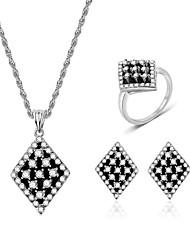 cheap -Women's White Cubic Zirconia Bridal Jewelry Sets Geometrical Flower Fashion Imitation Diamond Earrings Jewelry Silver For Party Festival 1 set