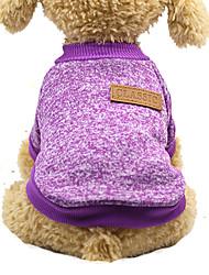 cheap -Cat Dog Sweater Winter Dog Clothes Purple Orange Blue Costume Bichon Frise Schnauzer Pekingese Cotton Solid Colored Casual / Daily Keep Warm Fashion S M L XL XXL