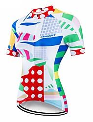 abordables -CAWANFLY Femme Manches Courtes Maillot Velo Cyclisme Blanche Géométrique Cyclisme Maillot Hauts / Top VTT Vélo tout terrain Vélo Route Respirable Séchage rapide Poche arrière Des sports Térylène