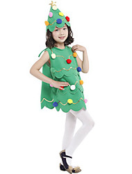 cheap -Christmas Trees Dress Girls' Kid's Costume Party Christmas Christmas Polyester Dress / Hat