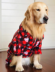 cheap -Dog Costume Jumpsuit Winter Dog Clothes Red Costume Polyster Print Cosplay Christmas XS S M