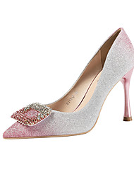 cheap -Women's Wedding Shoes Stiletto Heel Pointed Toe Rhinestone / Sequin / Buckle Synthetics Minimalism Fall / Spring & Summer Black / Champagne / Blue / Party & Evening / Color Block