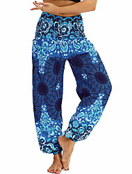 cheap -Women's High Waist Yoga Pants Harem Smocked Waist Print Light Purple Ocean Blue Royal Blue Jade Yellow-blue Belly Dance Fitness Bloomers Sport Activewear Lightweight Breathable Quick Dry Soft Stretchy