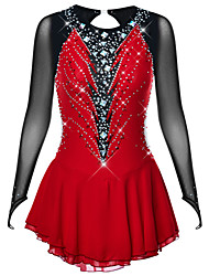 cheap -Figure Skating Dress Women's Girls' Ice Skating Dress Dark Red Open Back High Elasticity Practice Professional Competition Skating Wear Fashion Long Sleeve Ice Skating Winter Sports Figure Skating