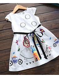 cheap -Toddler Girls' Cute Fantastic Beasts Cartoon Drawstring Sleeveless Above Knee Dress White