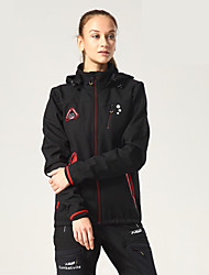 cheap -Mountainpeak Women's Long Sleeve Cycling Jacket with Pants Winter Fleece Polyester Black Solid Color Bike Clothing Suit Thermal Warm Waterproof Breathable Warm Sports Solid Color Mountain Bike MTB