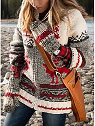 cheap -Women's Christmas Animal Long Sleeve Cardigan Sweater Jumper, V Neck Purple / Blue / Red S / M / L