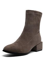 cheap -Women's Boots Flat Heel Peep Toe PU Booties / Ankle Boots Fall & Winter Black / Almond / Khaki