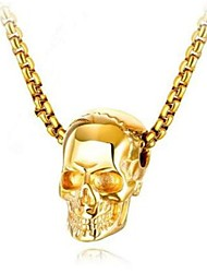 cheap -Men's Women's Pendant Necklace Geometrical Skull Fashion Titanium Steel Black Gold Silver 50 cm Necklace Jewelry 1pc For Gift Daily