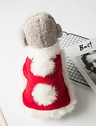 cheap -Dog Cape Winter Dog Clothes Red Costume Polyster Solid Colored Christmas Cosplay Christmas S M L