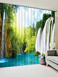 cheap -Original Forest Waterfall Digital Printing 3D Curtain Shading Curtain High Precision Black Silk Cloth High Quality Curtain