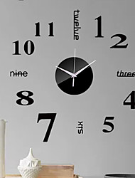 cheap -Modern Contemporary Plastic Round Indoor Battery Decoration Wall Clock Mirror Polished No