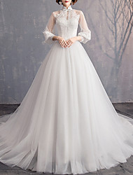 cheap -A-Line High Neck Sweep / Brush Train Tulle Long Sleeve Made-To-Measure Wedding Dresses with 2020